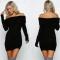 2017 New Fashion Autumn Winter Women Dress Series Strapless Sexy Word Collar Sweater Dress black one size