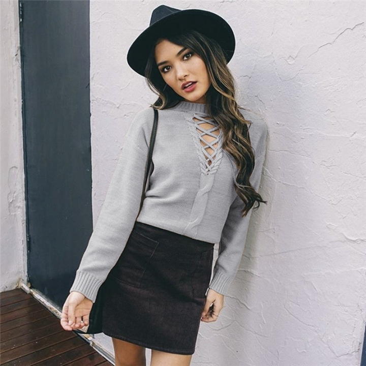 Women sexy deep v neck Long Sleeve Lady bandage Sweater Knitted Thick Warm Pullover gray one size