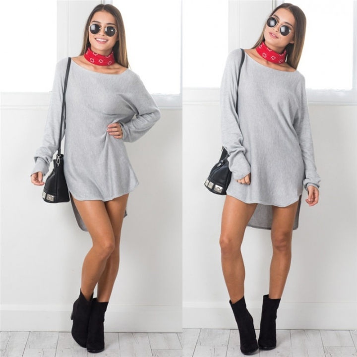 2017 Autumn Loose Irregular Dress Solid Long Sleeve Scoop Collar Casual Dresses Party Vestido gray s