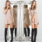 2017 Autumn Loose Irregular Dress Solid Long Sleeve Scoop Collar Casual Dresses Party Vestido apricot s
