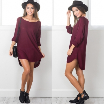 2017 Autumn Loose Irregular Dress Solid Long Sleeve Scoop Collar Casual Dresses Party Vestido wine red l