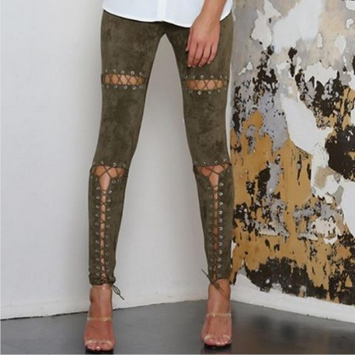 2017 Woman Hole Strap Long Leggings Solid Sexy Eyelet Suede Britches Bodycon Casua Straight Trousers army green l