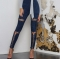 2017 Woman Hole Strap Long Leggings Solid Sexy Eyelet Suede Britches Bodycon Casua Straight Trousers dark blue s