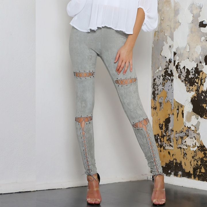 2017 Woman Hole Strap Long Leggings Solid Sexy Eyelet Suede Britches Bodycon Casua Straight Trousers gray l