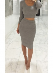 Two Pieces Knitting Women Winter Dress Long Sleeve Sexy Club Bandage Ribbed Sweater Elegant Dresses light gray s-m