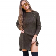 Women Braided Straps Side Slit Long Sleeve Knitting Dress Casual Sweaters Pullovers Ladies Knit Tops army green m