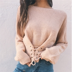 Autumn Winter Fashion Short Women Knitted Sweater Long Sleeves Waist Straps Sexy Slim Pullovers apricot one size