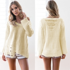 Women Sweaters Pullovers broken hole Long sleeve Knitted Sweater O Neck Femme Clothing beige one size