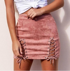 Women Skirts Suede Autumn Winter High Waist Bodycon Vintage Leather Black Lace Up Mini Skirt pink s