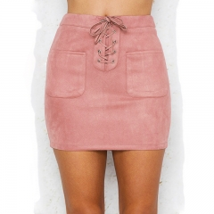 Sexy Lace Up Leather Suede Pencil Skirt 2017 New High Waist Pocket Office Short  Mini Women Skirts pink s