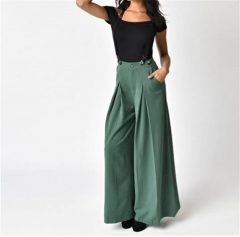 Womens Casual Maxi Trousers Streetwear Lady Broad Wide Legs with Pocket Fashion Long Pants green s