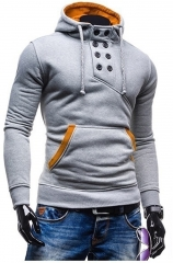2017 New Spring Autumn Men Fashion Brand Pullover Solid Color Turtleneck Sportswear Sweatshirt light gray s