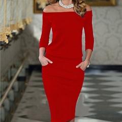 Fashion Summer Women Sexy Bodycon Dress Three Quarter Sleeve Slash Neck Dresses red s