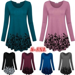 Women's Fashon Floral Printed Tunic Tops Long Sleeve A Line Blouse teal s