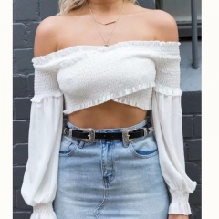 Solid Color Blouse Outfits Leakage shoulder Lady Bubble Ruffle Long Sleeve Top white s