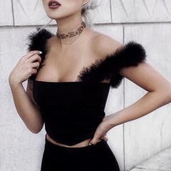 Casual Black Fur Women Tops Sleeveless T-shirt Tees Slim Cami Top Vest Short balck s
