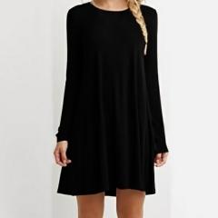 Women's Loose-Fit Pullover Shirt Autumn Style Solid Lady Dress Short Cotton T shirt Dress balck s