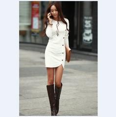 2017 Ladies Elegant Winter Long Sleeve Buttons Slim Hip Casual Autumn Bodycon Dresses white s