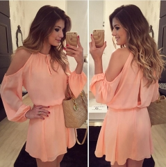 Fashion Women's Chiffon Dress Sexy Long Sleeve Asymmetrical Backless Dress Casual Mini Dress pink s