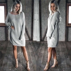 Winter Fleece Womens Casual Long Sleeve Vintage Knitted Sweater Long Dress gray s