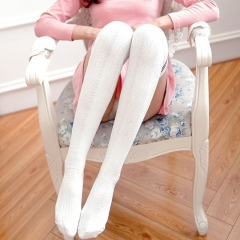 Fashion Striped Women Cotton Stockings Thigh High Over Knee Socks For Ladies Girls white one size