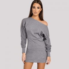 New Spring Women Sexy Slash Neck Long Sleeve Casual Solid Color Cotton Regular Women Dress CL525 s grey