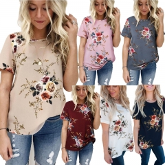 New Summer Women Blouse Short Sleeve Casual Print Floral Chiffon O Neck Regular Women Shirts CL526 pink s