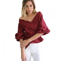 Summer Tops women's bandage blouse off shoulder shirt v-neck full sleeve natural sleeve Shirt JC002 wine red s