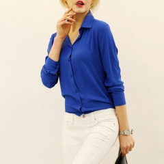 Loose blouse women's long sleeve shirt casual blouse shirt top JC005 blue s