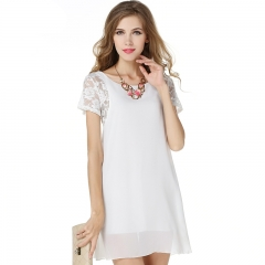 Summer Dress Short Sleeve New Lace Chiffon Women Mini Beach Dress Female Vestidos JC013 s white