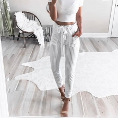 women's chiffon harem pants bow tie drawstring elastic waist pocket Pants JC014 white s