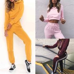 Women 2 Pcs Crop Tops Hoodie + Long Sweatpants Clothes Set 2 Piece Set JC039 pink s