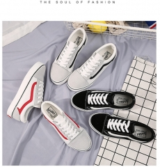 Size 35 to 40 Women Fashion Flat Heel Canvas Shoes Unisex Casual Shoes white+red 36
