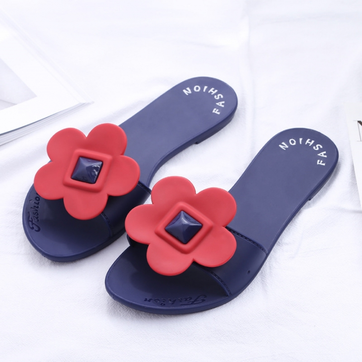 07b8f762734 womens designer slippers fashion crystal flowers comfortable soft Shoes  brand sandals red flower 37