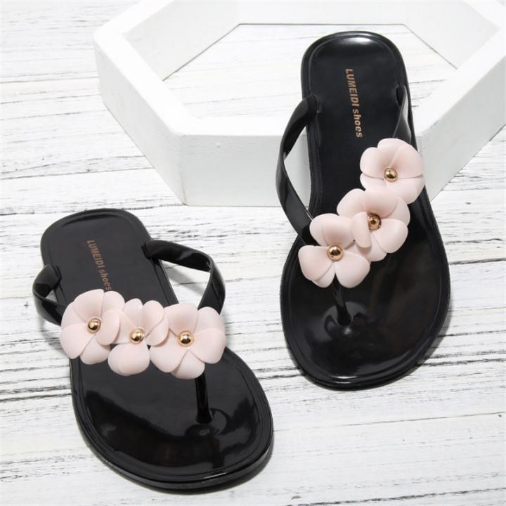 b3a3e7378b090d Summer Women Floral Slippers Flip Flops Women Candy Color Sandals Whith  Flowers Beach Shoes black 36