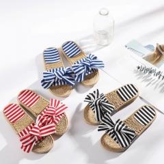 2018 summer hot selling Women's bow flip Slipper flat sandals female womens flops slippers black 40