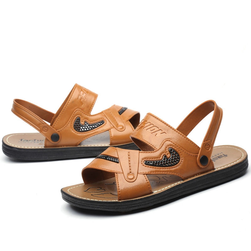 e74cc4d4f7a Mens Sandals Black Brown Hand Sewing Men Summer Shoes Breathable ...