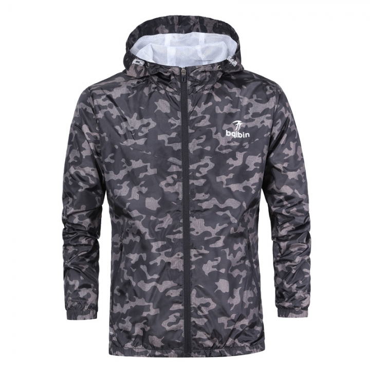 de13874f9e7e5 Autumn Mens Casual Camouflage Hoodie Jacket Men Waterproof Men s  Windbreaker Coat Male Outwear black m