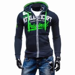 2018 Hoodies Men Hip Hop Brand Letter Hooded Zipper Hoodie Sweatshirt Slim Fit Men Hoody light grey 2xl