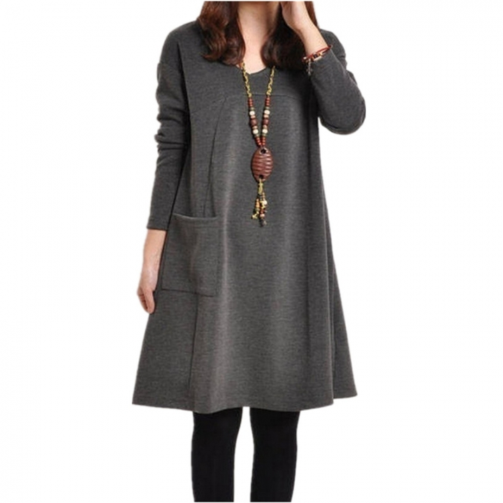 7ae01c09a985 Women Winter Long Sleeve Pocket Tunic Tops Loose Casual Cotton Pregnancy  Dress l grey