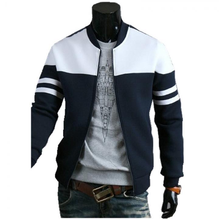 2017 Spring Autumn Casual Men's Zipper Jacket Silm Coat Fashion Hoodies Sportswear navy blue&white 3xl