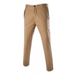 2018 New Casual Pants Men Cotton Slim Fit Chinos Fashion Trousers Male khaki 29