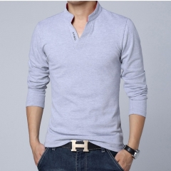 HOT SELL 2018 Fashion Brand Men Long Sleeve Slim Fit T Shirt Men Cotton T-Shirt Casual Shirts grey m cotton