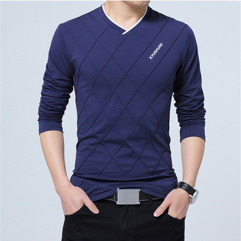 3f3ff3734 Material: Cotton Sleeve Length: Long Style: Casual Collar Type: V-neck.  Colour:As Picture Size: M L XL 2XL 3XL 4XL 5XL Package Content:1 * T-shirt