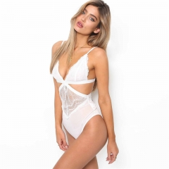 Sexy Lace Hollow Out  Playsuit Deep V Backless Jumpsuit Bodysuit White s