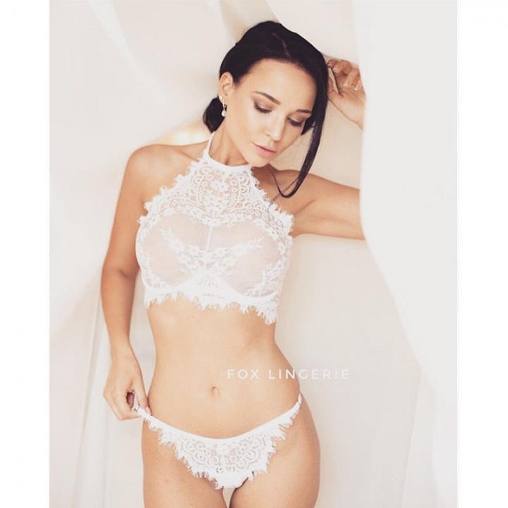 d1f79585253 Women s Lingerie Set Sexy Lace Vest Top Bra+ G-string Underwear Perspective  Sleepwear White XL