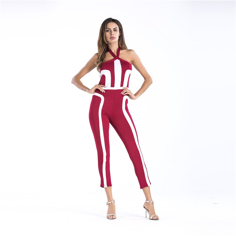 70e79945aa47 Item specifics  Brand  Elegant Striped Sexy Spaghetti Strap Rompers Womens  Jumpsuit Sleeveless ...