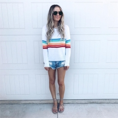 2018 Autumn Colouful stripe patchwork casual women tops tees long sleeve vintage o-neck t-shirt white s
