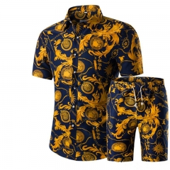 Men Shirts+Shorts Set Summer Casual Printed Hawaiian Shirt Homme Short Male Printing Dress Suit Sets a xl