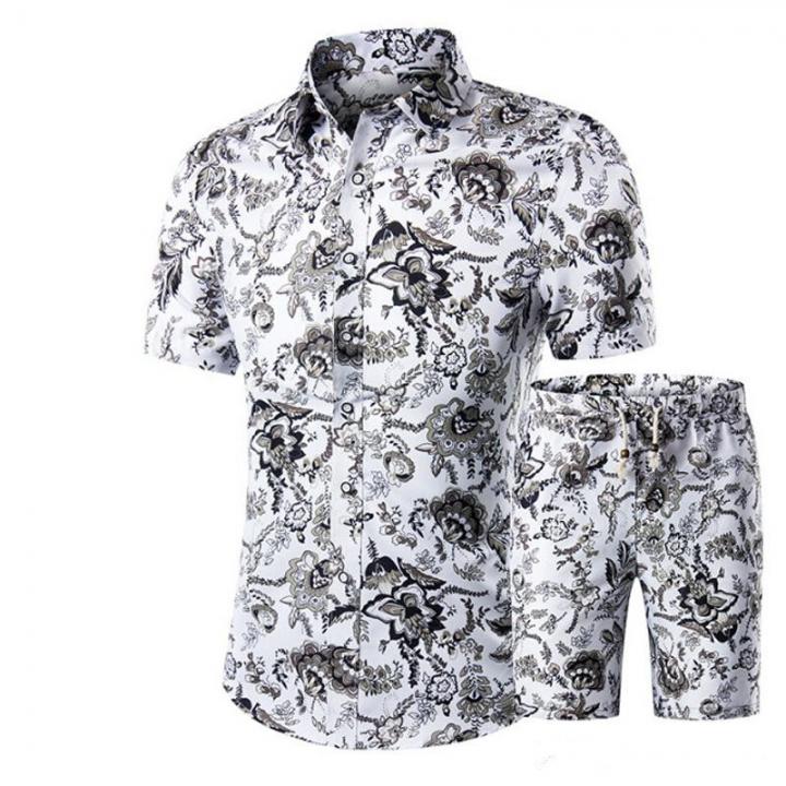 4d2edad8b2d1f Men Shirts+Shorts Set Summer Casual Printed Hawaiian Shirt Homme Short Male  Printing Dress Suit